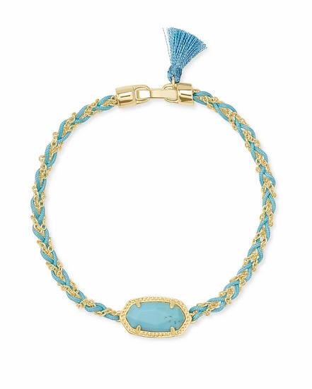 Elaina Braided Gold Friendship Bracelet In Light Blue Magnesite