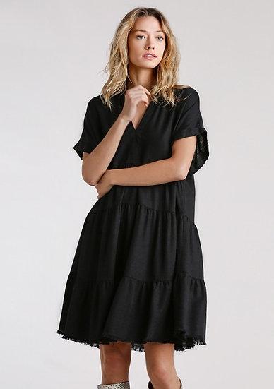 Get Where You're Going Black Ruffled Hem Dress
