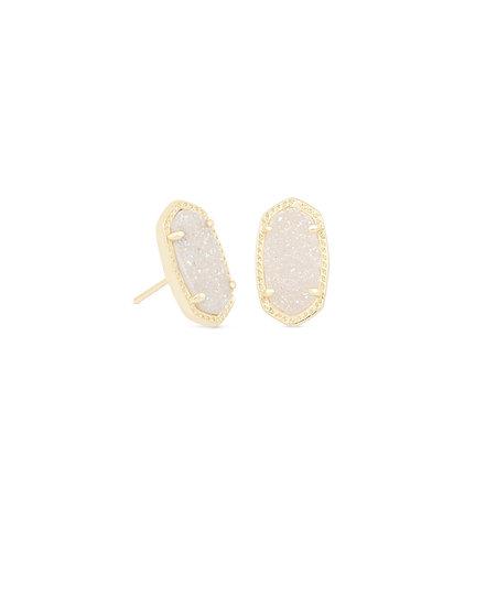Ellie Gold Stud Earrings In Iridescent Drusy