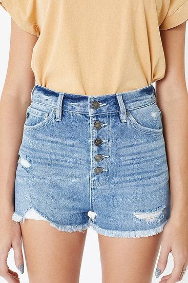 Time For The Sun Medium Wash Jean Shorts