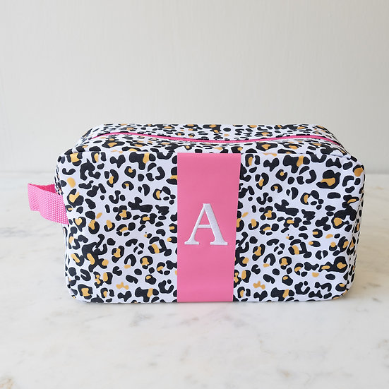 Leopard Cosmetic Bag with Initial