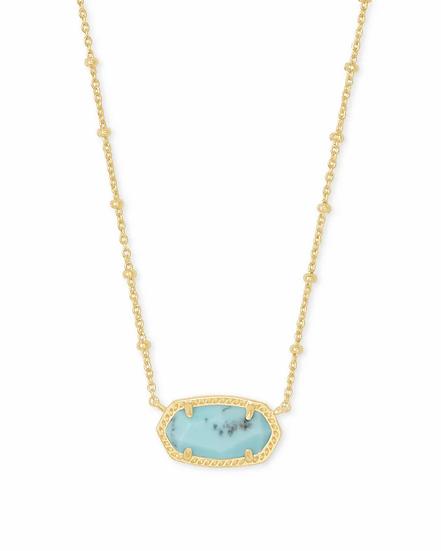 Elisa Satellite Gold Pendant Necklace In Light Blue Magnesite