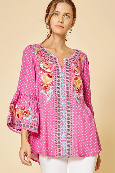 I'll Have This Hot Pink Embroidered Shift Top