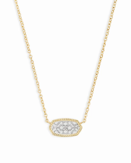 Elisa Gold Pendant Necklace In Silver Filigree