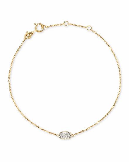 Millicent 14k Yellow Gold Delicate Chain Bracelet In White Diamond