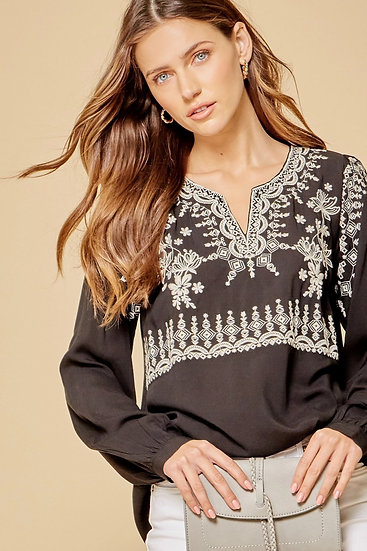 Feeling Carefree Black Embroidered Top
