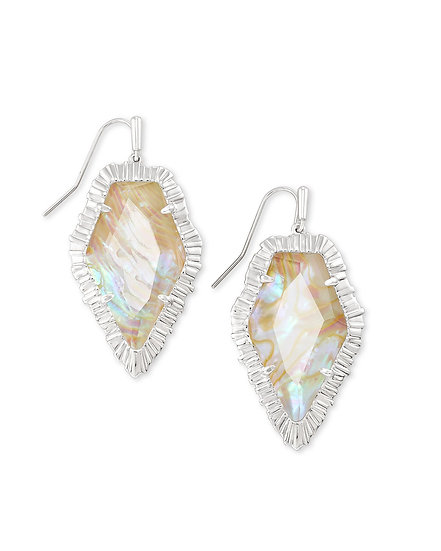 Tessa Silver Drop Earring In Iridescent Abalone