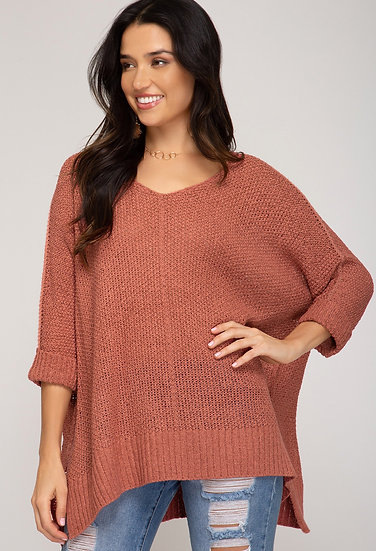Reasons To Fall Hi Low Knit Sweater - Antique Coral