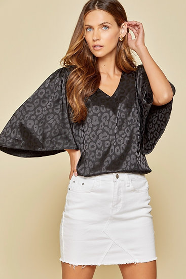 Turn To You Black Leopard Top