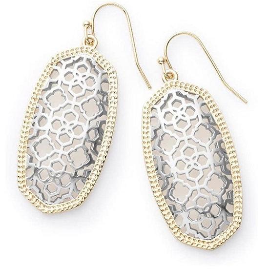 Elle Gold Drop Earrings In Rhodium Filigree Mix