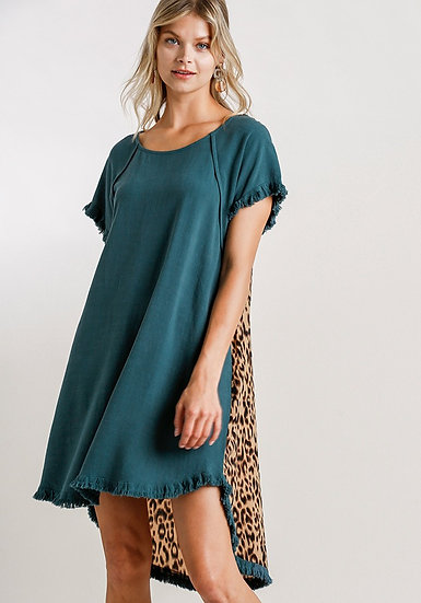 Just You Wait Leopard Dress - Dark Teal