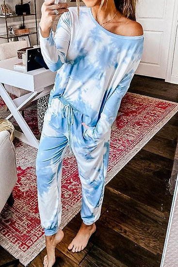 Pop The Sunroof Tie Dye Lounge Set - Sky Blue Mix