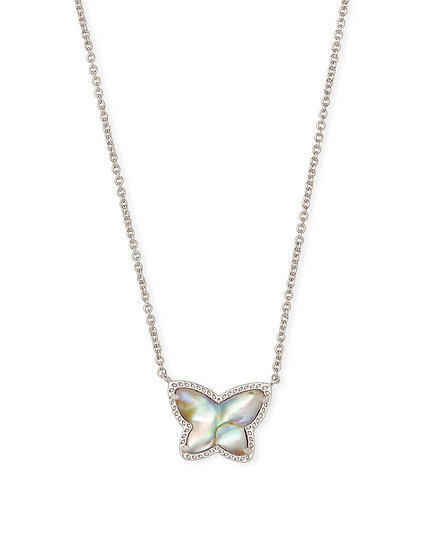 Lillia Butterfly Pendant Necklace In Rhodium Iridescent Abalone
