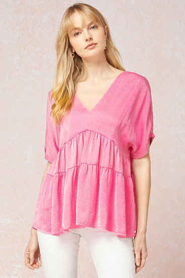 Out For Adventures Pink Satin Top