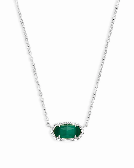 Elisa Silver Pendant Necklace In Emerald Cat's Eye - MAY
