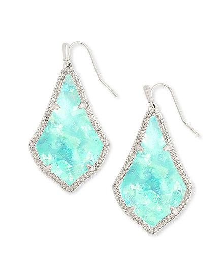 Alex Silver Drop Earrings In Iridescent Mint Illusion