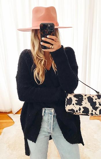Hug Me Sweater - Black Fuzzy Knit  (Show Me Your Mumu)