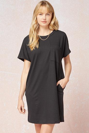 On The Go Black T-shirt Dress