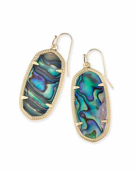 Elle Gold Drop Earrings In Abalone Shell