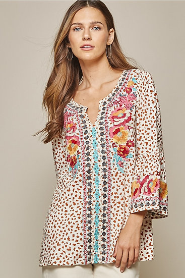 Yuma Leopard Embroidered Top