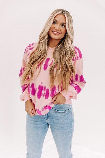 Fuchsia Tie Dye Sweatshirt