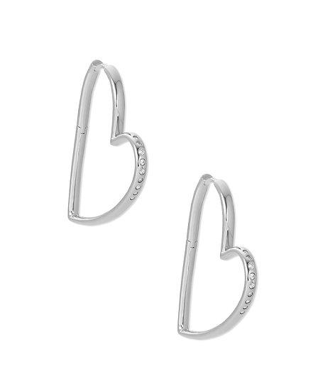 Ansley Hoop Earring Rhodium Metal White CZ