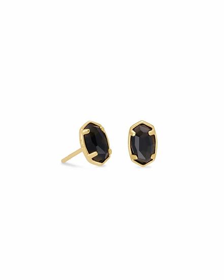 Emilie Gold Stud Earrings In Black Obsidian