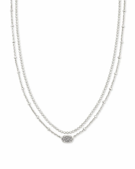 Emilie Silver Multi Strand Necklace In Platinum Drusy
