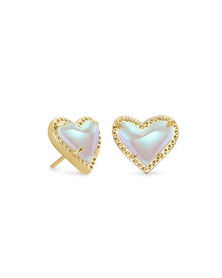 Ari Heart Gold Stud Earrings In Dichroic Glass