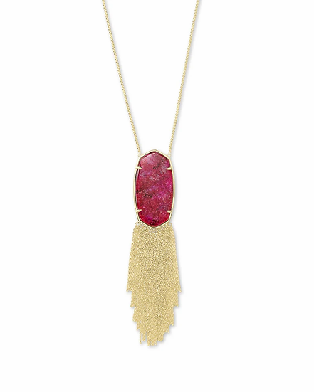 Deanna Gold Long Pendant Necklace In Raspberry Labradorite