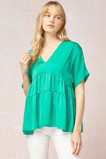 Out For Adventures Green Satin Top