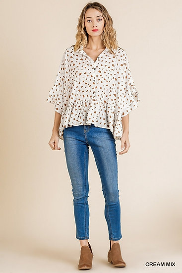 In Full Control Cream Spotted Top