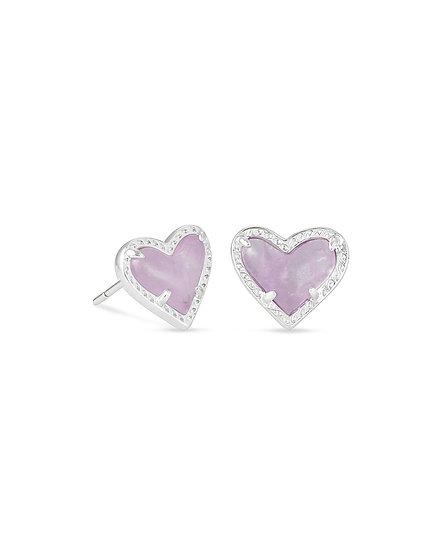 Ari Heart Rhod Stud Earrings In Purple Amethyst