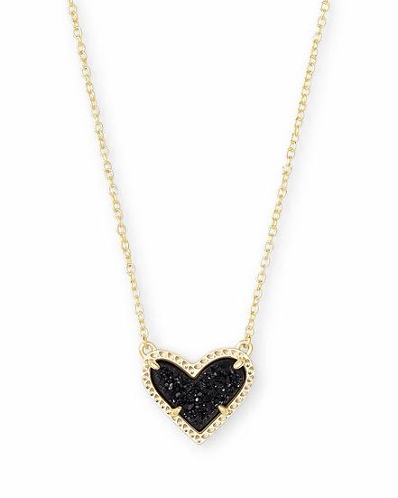 Ari Heart Gold Pendant Necklace In Black Drusy
