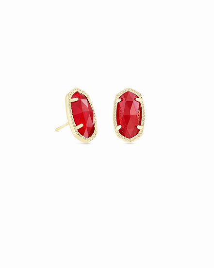 Ellie Gold Stud Earrings In Ruby Red - JULY