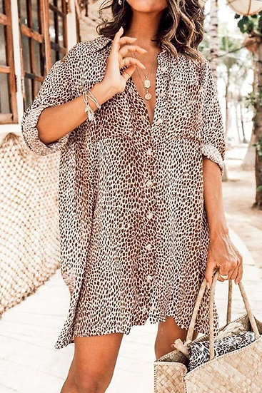 Lifetime Leopard Button Down Dress