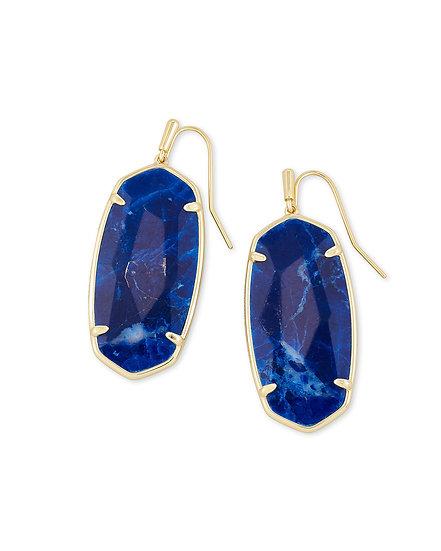 Faceted Elle Gold Drop Earrings In Cobalt Howlite