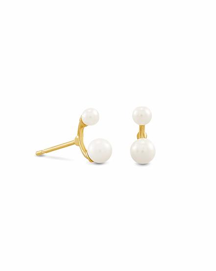 Demi Gold Stud Earrings In White Baroque Pearl