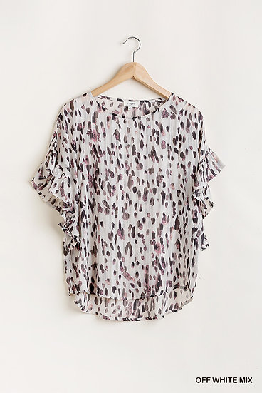 Off To Anywhere Ivory White Animal Print Top
