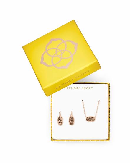 Elisa Satellite Necklace & Lee Earrings Gift Set In Rose Gold Drusy