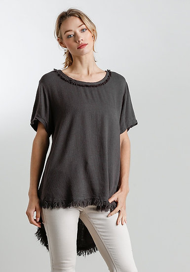 Round Neck Short Sleeve Top with Low Fishtale Frayed Hem - Ash