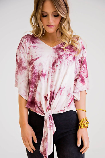 The Search Is Over Tie Dye Knotted Top