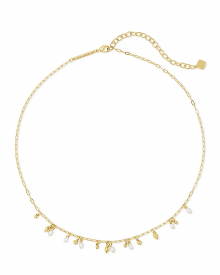 Mollie Gold Choker Necklace In White Pearl