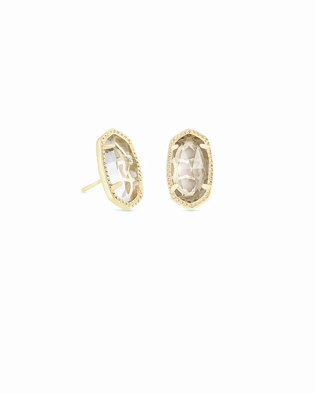 Ellie Gold Stud Earrings In Clear Crystal - APRIL