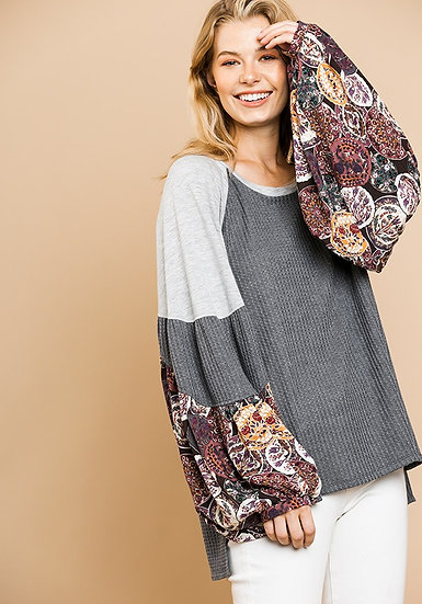 Easy Days Ahead Waffle Knit Top - Charcoal