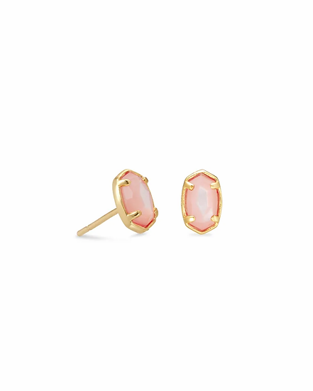 Emilie Gold Stud Earrings In Rose Mother Of Pearl