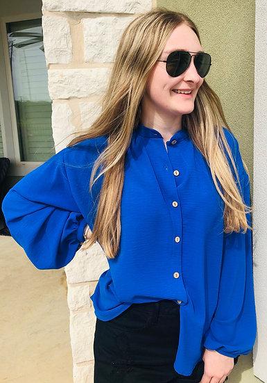 Royal Blue Dolman Sleeve Solid Top