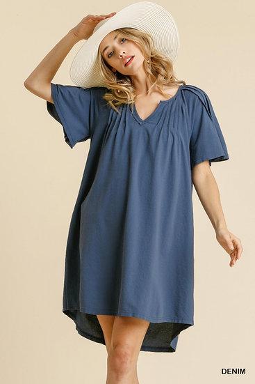 Shoot Your Shot Denim Blue Dress