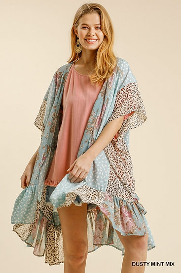A Moment In Time Dusty Mint Floral Mix Kimono