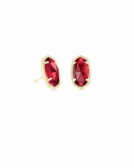 Ellie Gold Stud Earrings In Berry - JANUARY